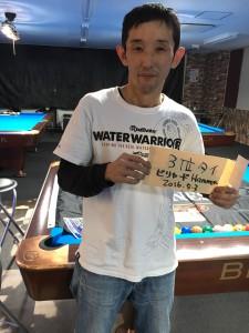ビリヤードHammer広島胡町電停前店2016年5月3日9ボールトーナメント3位タイ(鈴政選手)