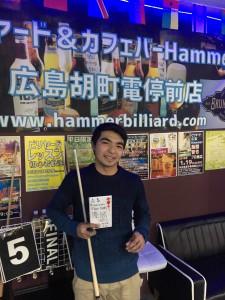 第18回ビリヤード広島Hammer月例優勝ココイさん