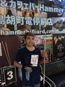 第26回ビリヤード広島Hammer9ボール月例優勝ココイ選手