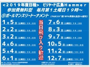 2019年ビリヤード広島Hammer9ボール月例年間日程jpeg